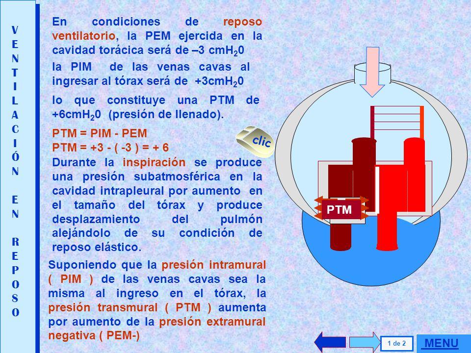 En condiciones de reposo ventilatorio, la PEM ejercida en la cavidad torácica será de –3 cmH20