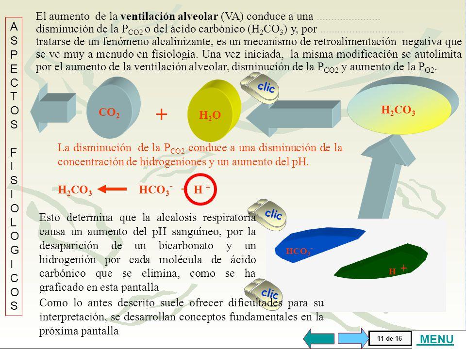 El aumento de la ventilación alveolar (VA) conduce a una ......................