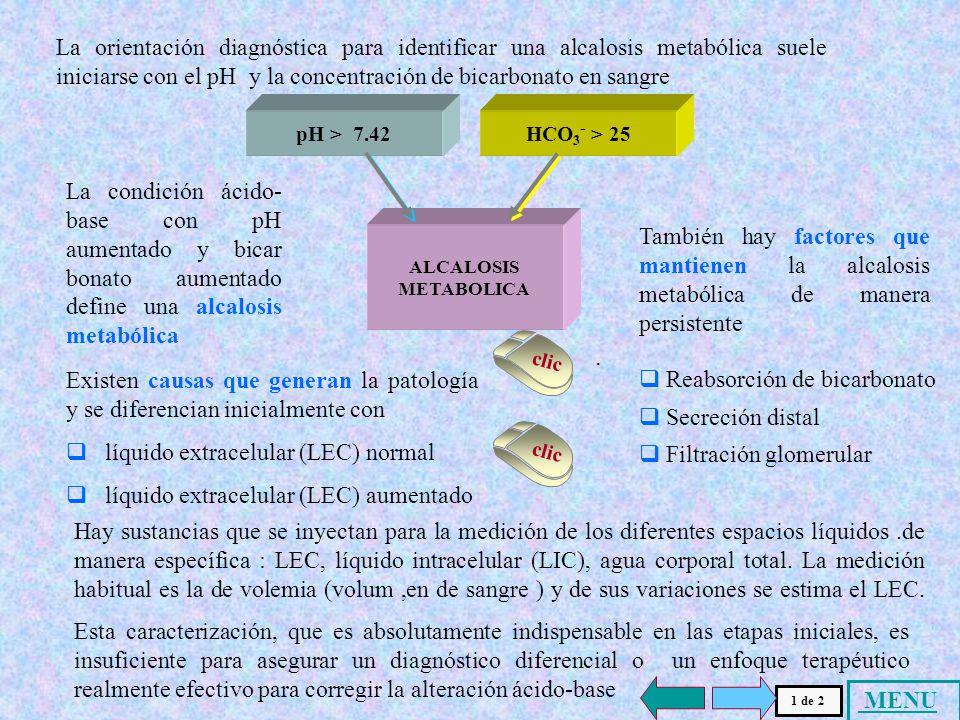 La orientación diagnóstica para identificar una alcalosis metabólica suele iniciarse con el pH y la concentración de bicarbonato en sangre