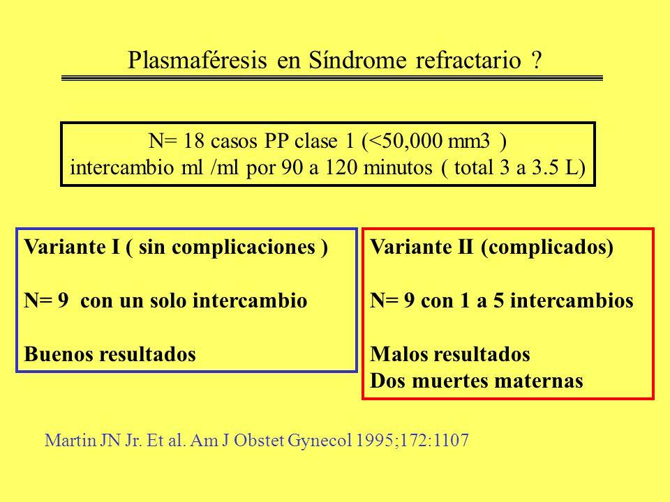 Plasmaféresis en Síndrome refractario