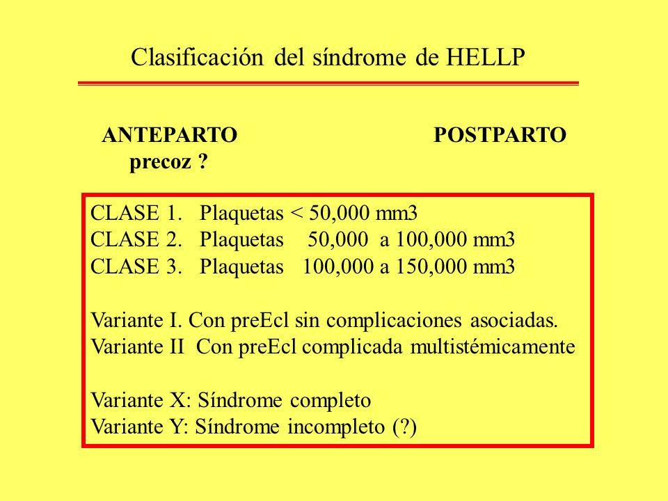 Clasificación del síndrome de HELLP