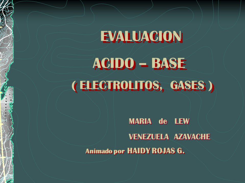 ( ELECTROLITOS, GASES ) ACIDO – BASE EVALUACION MARIA de LEW
