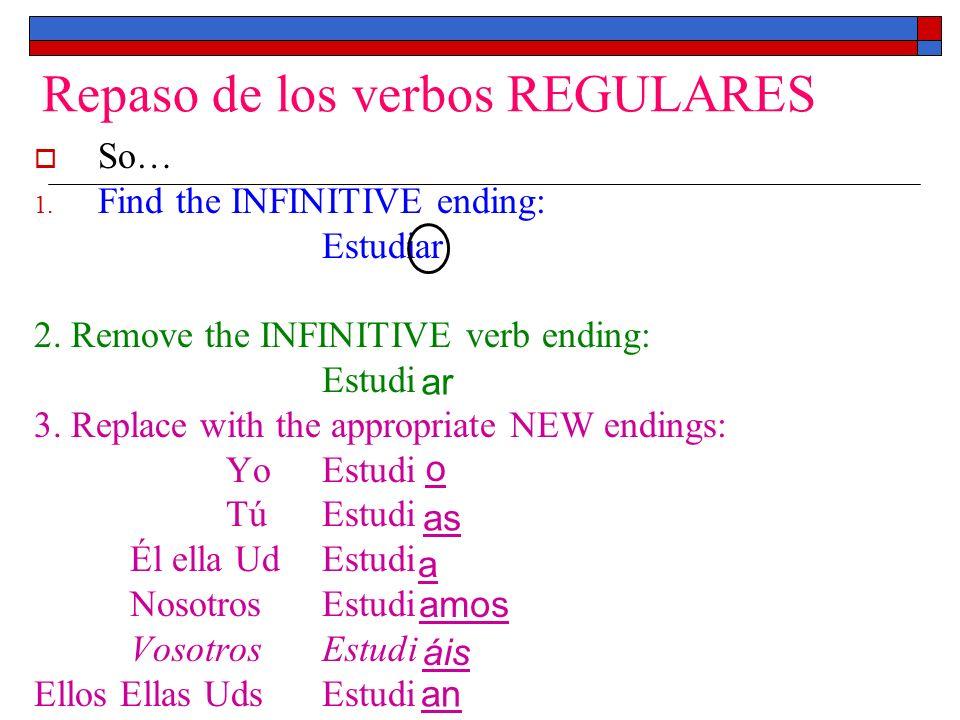 Repaso de los verbos REGULARES
