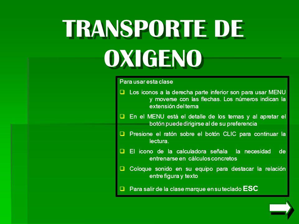 TRANSPORTE DE OXIGENO Para usar esta clase