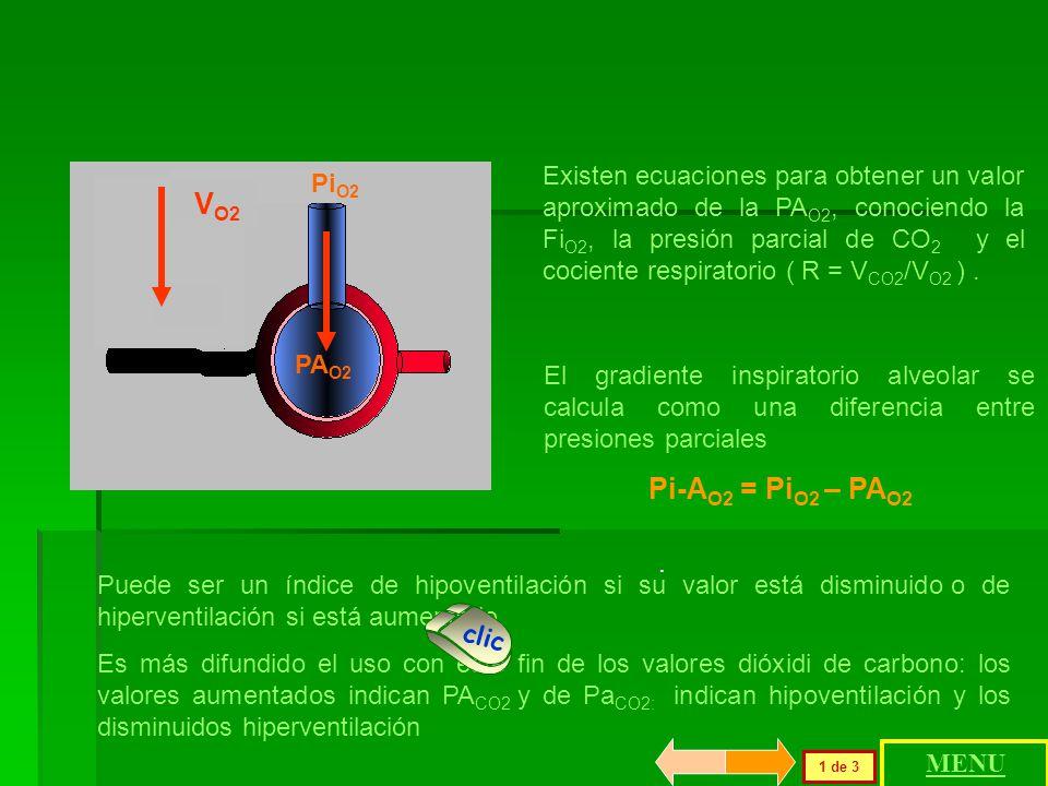 Existen ecuaciones para obtener un valor aproximado de la PAO2, conociendo la FiO2, la presión parcial de CO2 y el cociente respiratorio ( R = VCO2/VO2 ) .