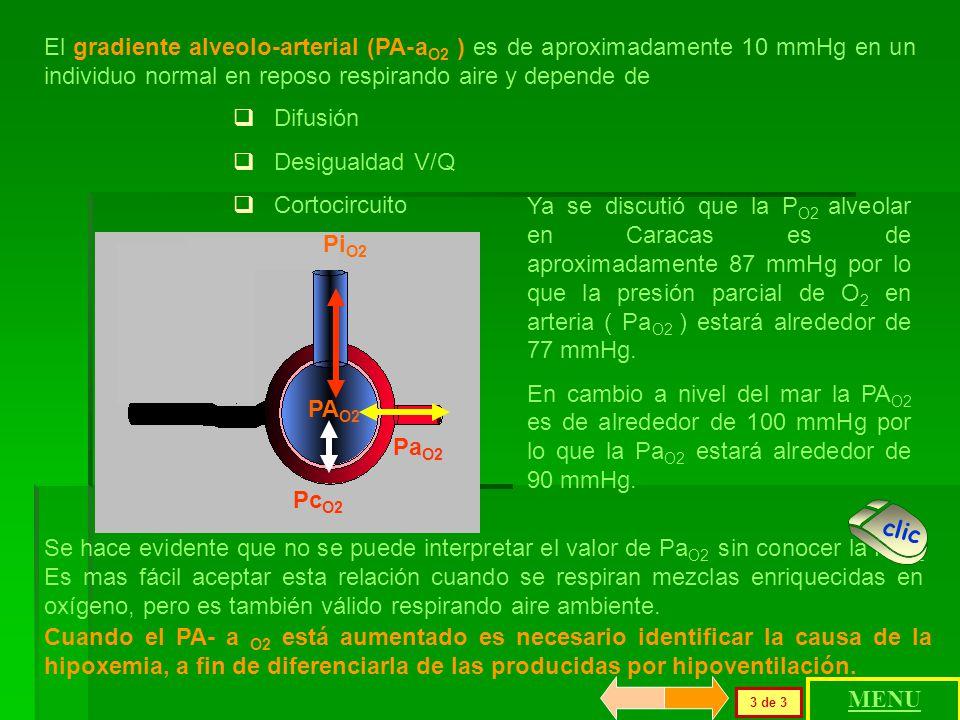 El gradiente alveolo-arterial (PA-aO2 ) es de aproximadamente 10 mmHg en un individuo normal en reposo respirando aire y depende de