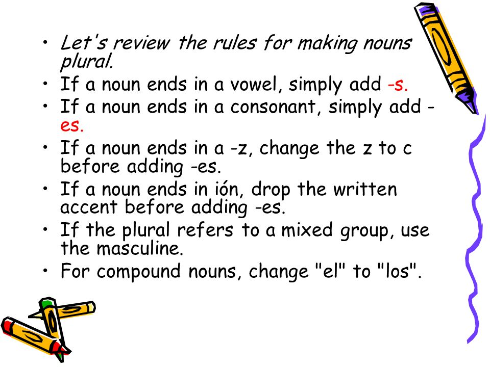 Let s review the rules for making nouns plural.