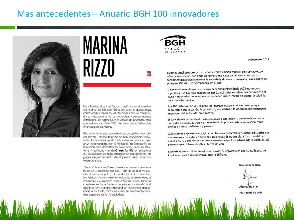 Mas antecedentes – Anuario BGH 100 innovadores