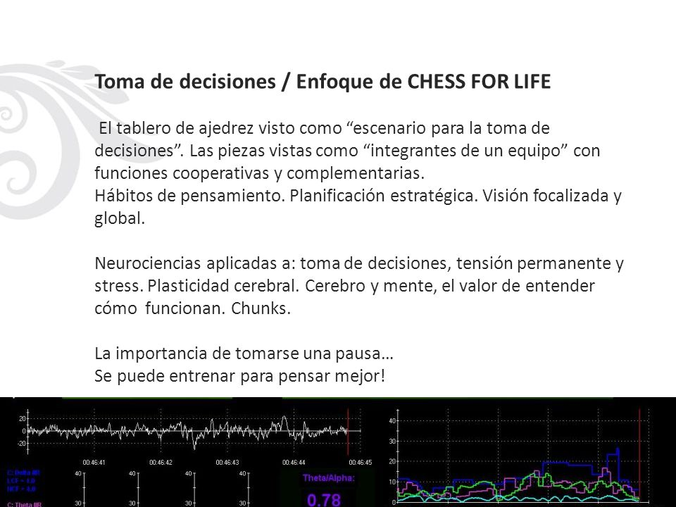 Toma de decisiones / Enfoque de CHESS FOR LIFE El tablero de ajedrez visto como escenario para la toma de decisiones .