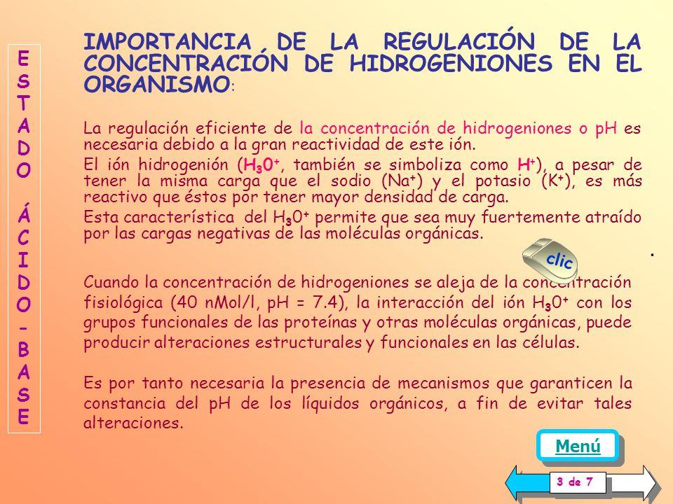 IMPORTANCIA DE LA REGULACIÓN DE LA CONCENTRACIÓN DE HIDROGENIONES EN EL ORGANISMO: