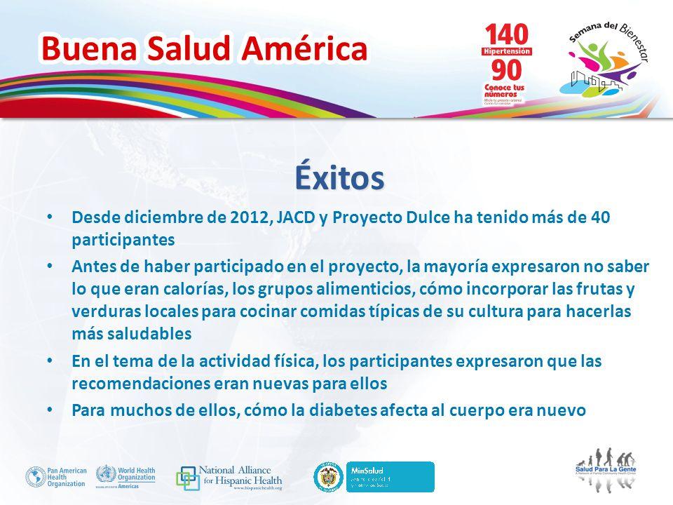 Éxitos Desde diciembre de 2012, JACD y Proyecto Dulce ha tenido más de 40 participantes.
