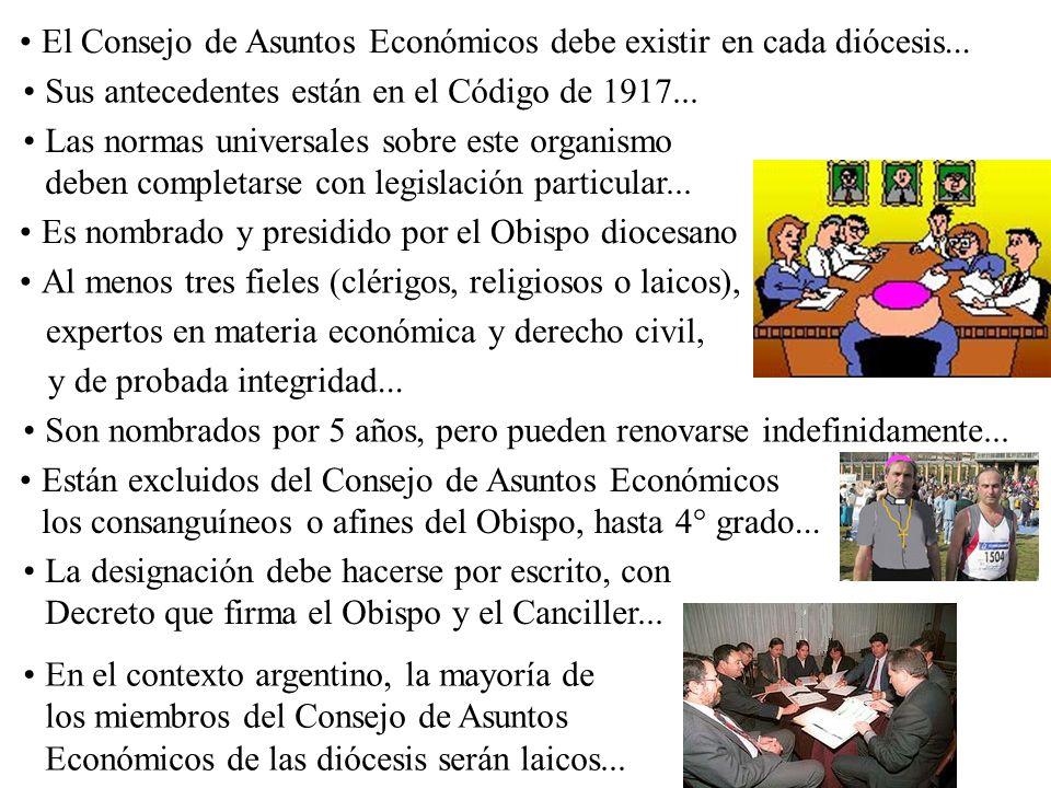 El Consejo de Asuntos Económicos debe existir en cada diócesis...