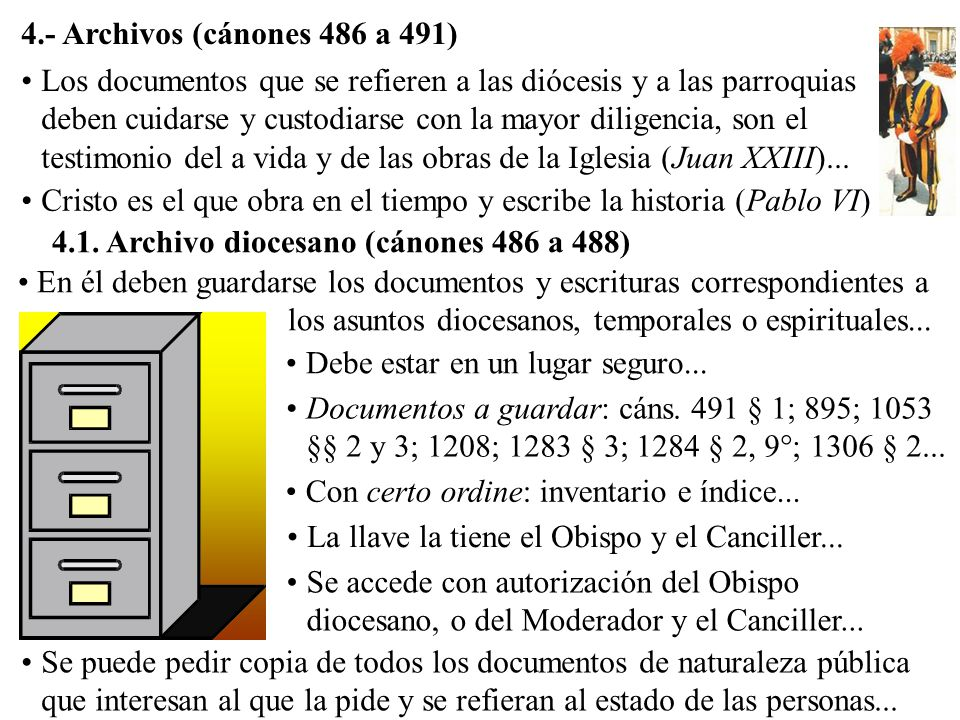 4.- Archivos (cánones 486 a 491)