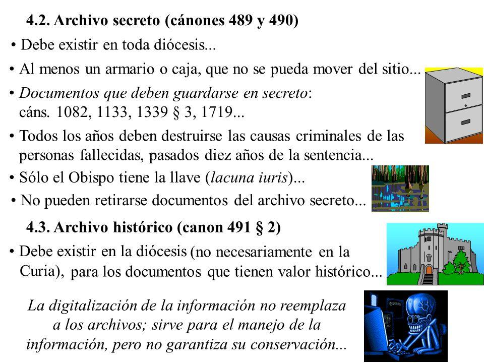 4.2. Archivo secreto (cánones 489 y 490)