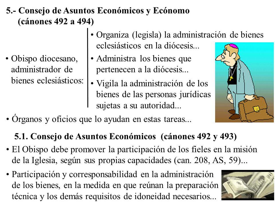 5.- Consejo de Asuntos Económicos y Ecónomo (cánones 492 a 494)