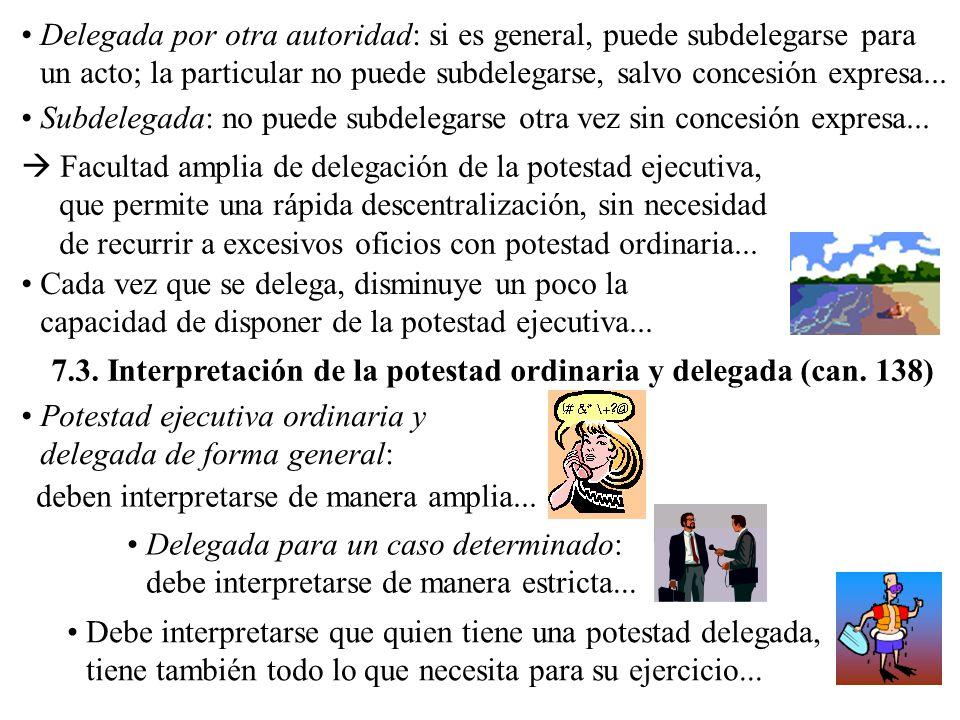 Delegada por otra autoridad: si es general, puede subdelegarse para un acto; la particular no puede subdelegarse, salvo concesión expresa...