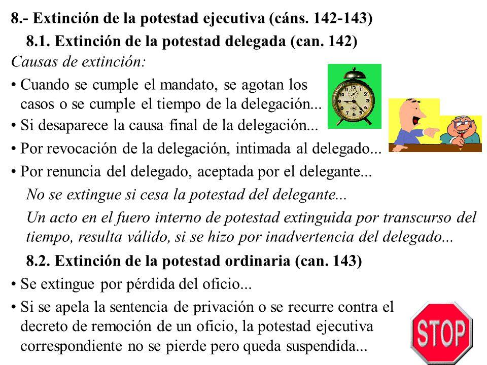8.- Extinción de la potestad ejecutiva (cáns. 142-143)