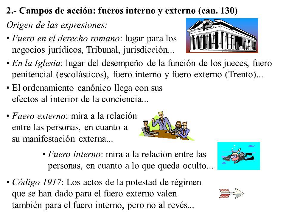 2.- Campos de acción: fueros interno y externo (can. 130)