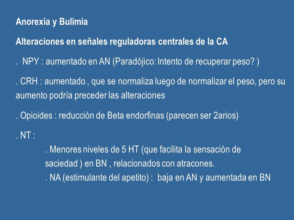Anorexia y Bulimia Alteraciones en señales reguladoras centrales de la CA. . NPY : aumentado en AN (Paradójico: Intento de recuperar peso )