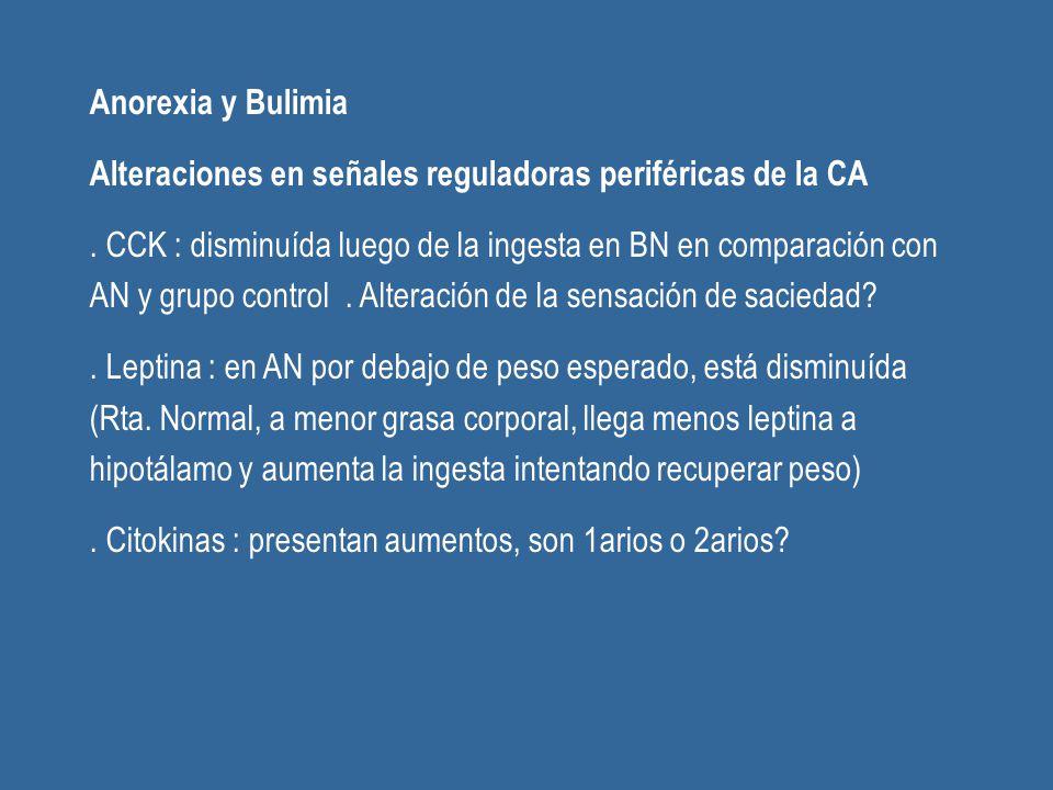 Anorexia y Bulimia Alteraciones en señales reguladoras periféricas de la CA.