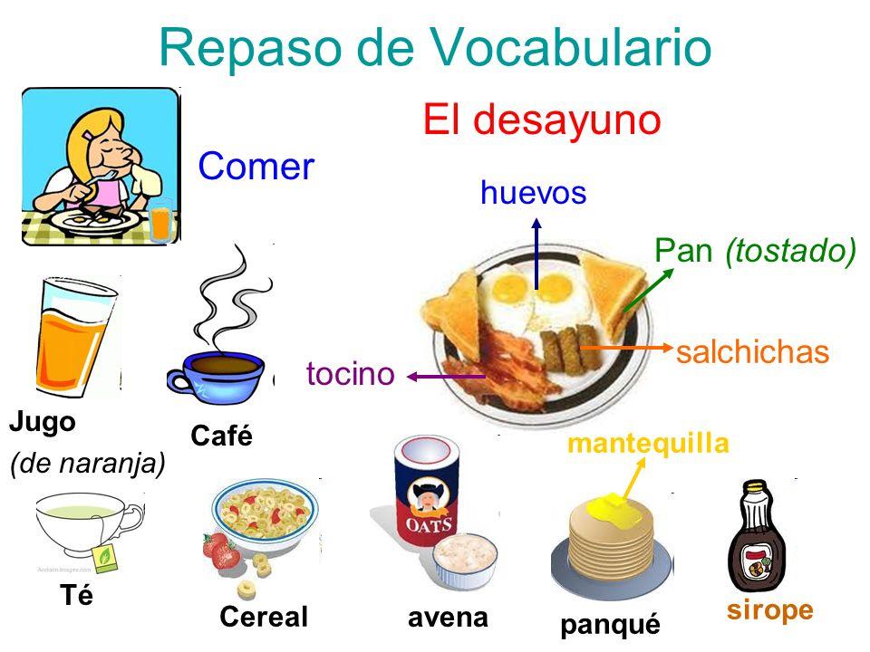 Repaso de Vocabulario El desayuno Comer huevos Pan (tostado)