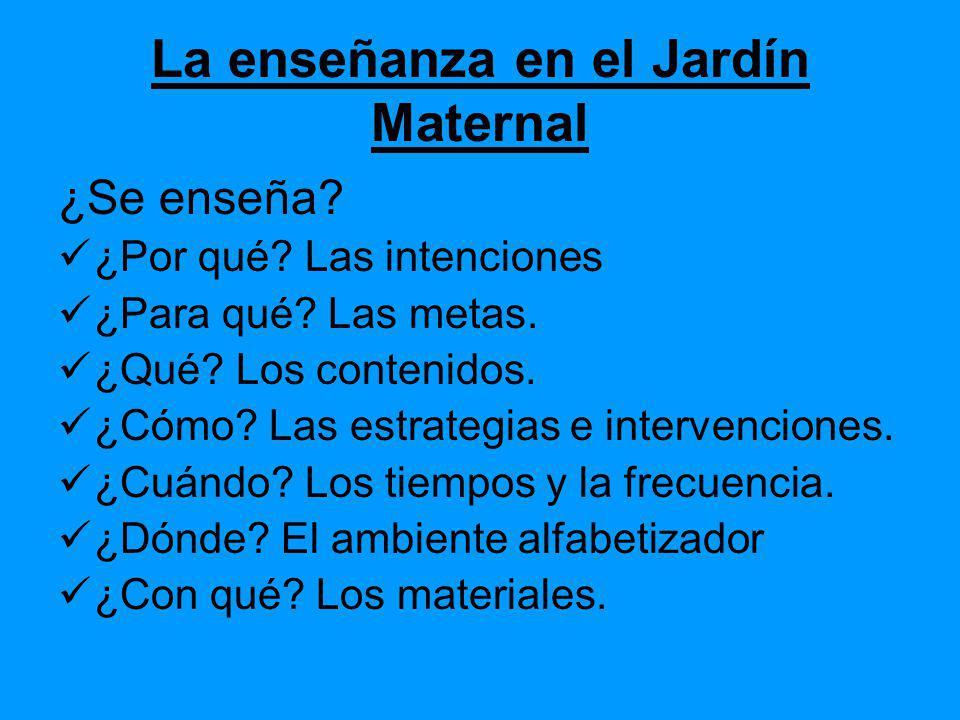 La enseñanza en el Jardín Maternal