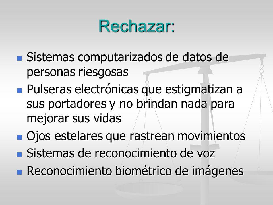 Rechazar: Sistemas computarizados de datos de personas riesgosas
