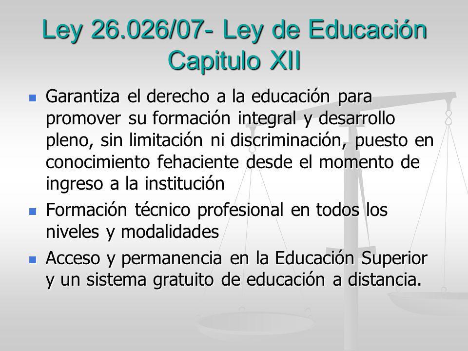 Ley 26.026/07- Ley de Educación Capitulo XII