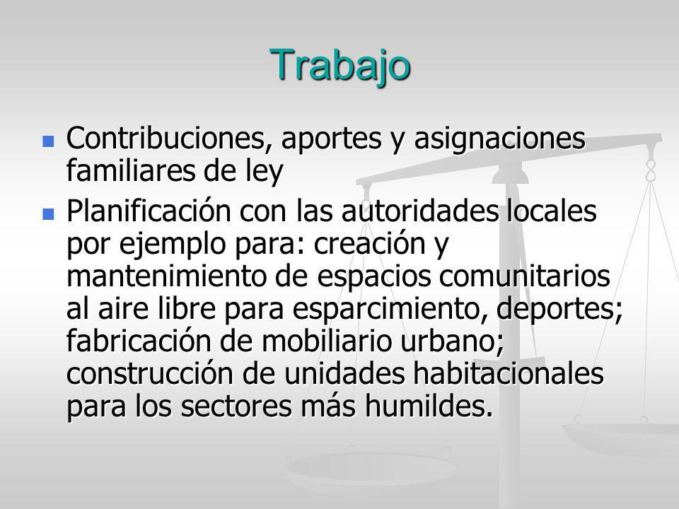 Trabajo Contribuciones, aportes y asignaciones familiares de ley