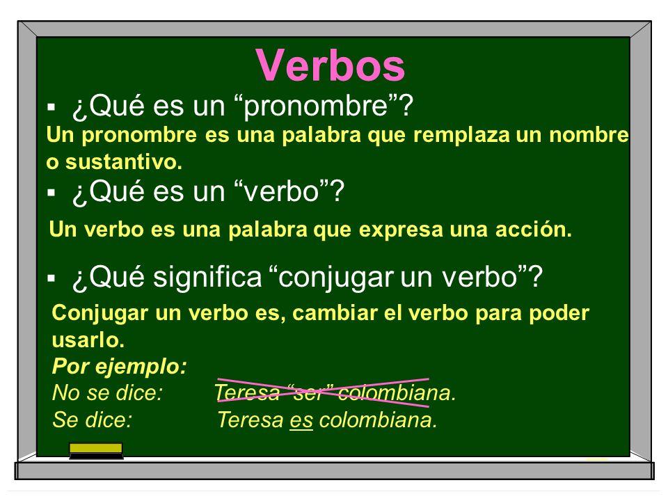 Verbos ¿Qué es un pronombre ¿Qué es un verbo