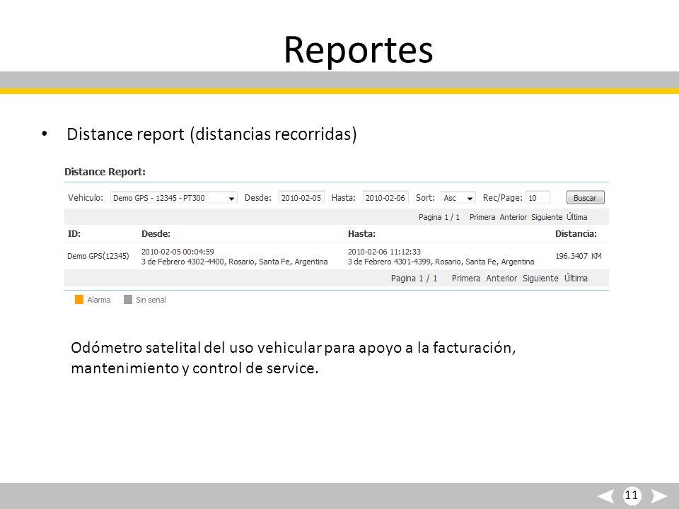 Reportes Distance report (distancias recorridas)
