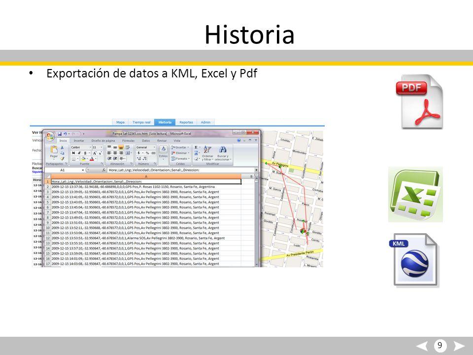 Historia Exportación de datos a KML, Excel y Pdf 9