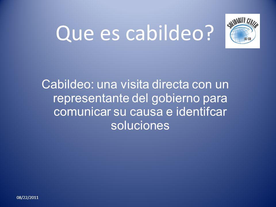 Que es cabildeo Cabildeo: una visita directa con un representante del gobierno para comunicar su causa e identifcar soluciones.