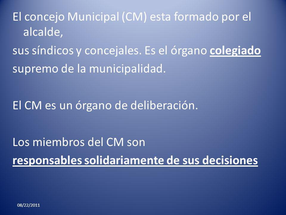 El concejo Municipal (CM) esta formado por el alcalde, sus síndicos y concejales. Es el órgano colegiado supremo de la municipalidad. El CM es un órgano de deliberación. Los miembros del CM son responsables solidariamente de sus decisiones