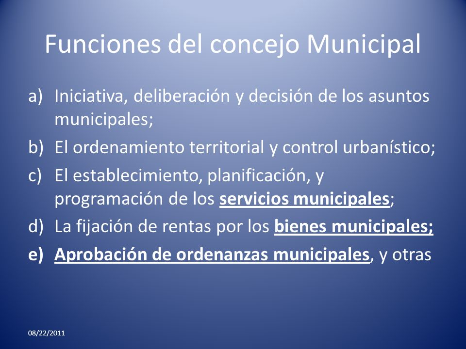 Funciones del concejo Municipal