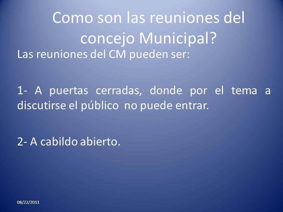 Como son las reuniones del concejo Municipal