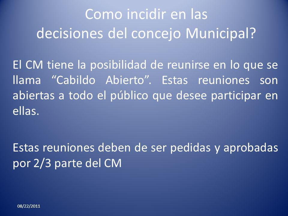 Como incidir en las decisiones del concejo Municipal