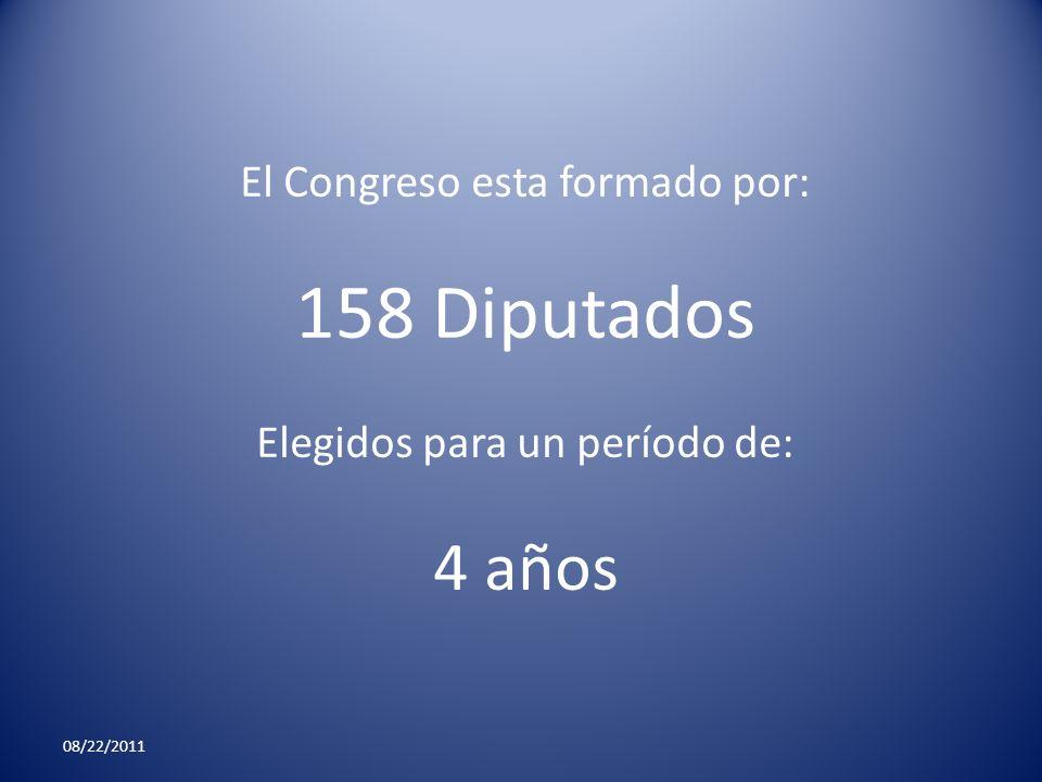 158 Diputados 4 años El Congreso esta formado por: