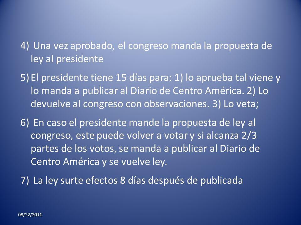 Una vez aprobado, el congreso manda la propuesta de ley al presidente