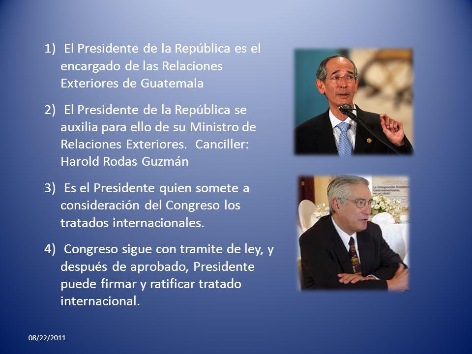 El Presidente de la República es el encargado de las Relaciones Exteriores de Guatemala