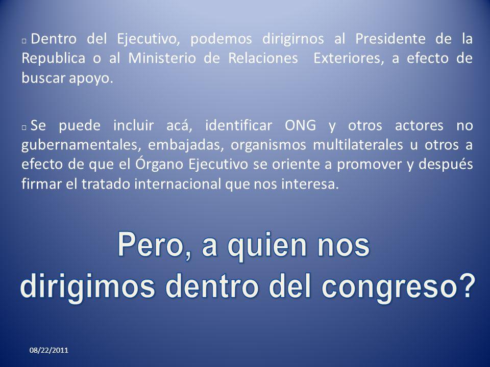 Dentro del Ejecutivo, podemos dirigirnos al Presidente de la Republica o al Ministerio de Relaciones Exteriores, a efecto de buscar apoyo.