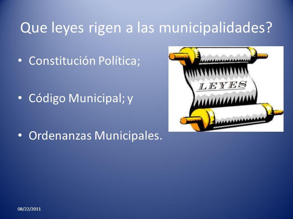 Que leyes rigen a las municipalidades