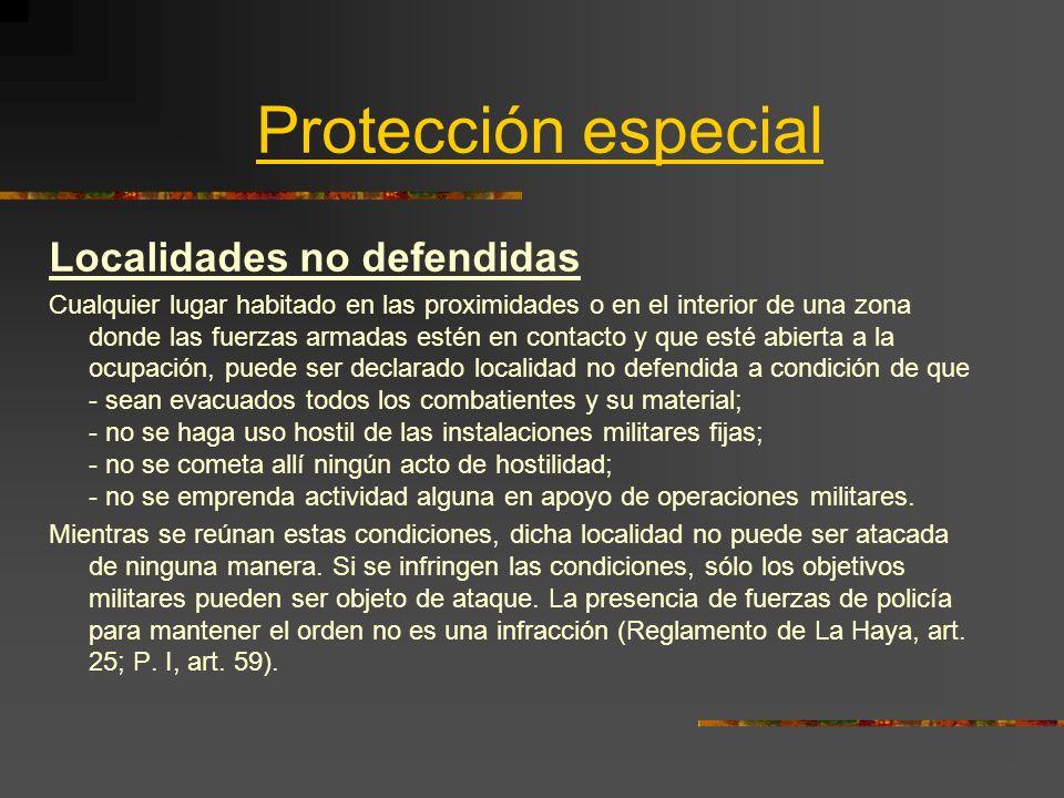 Protección especial Localidades no defendidas