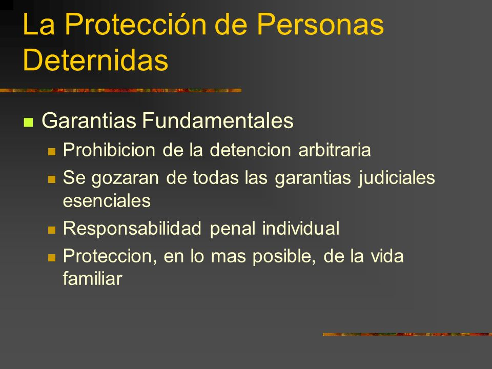 La Protección de Personas Deternidas