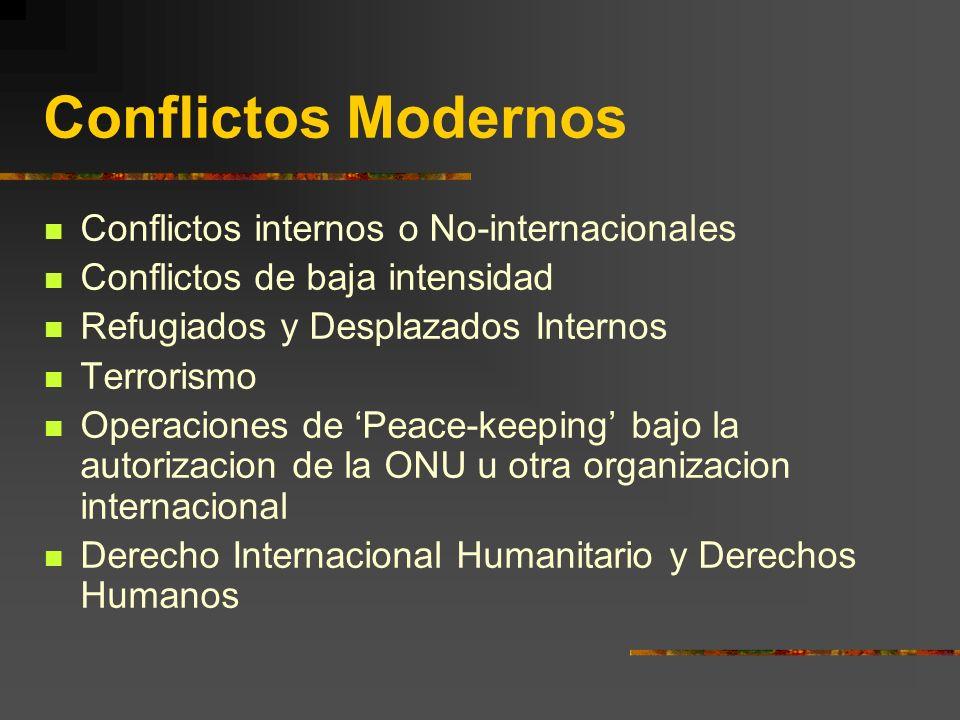Conflictos Modernos Conflictos internos o No-internacionales