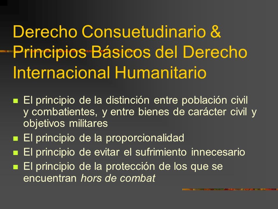 Derecho Consuetudinario & Principios Básicos del Derecho Internacional Humanitario