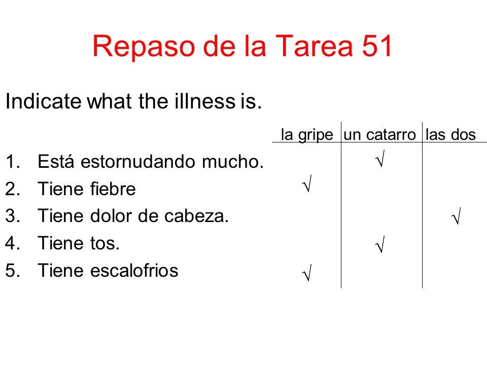 Repaso de la Tarea 51 Indicate what the illness is.
