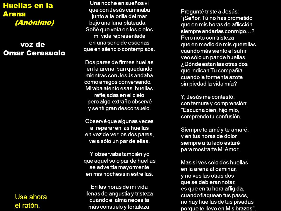 Huellas en la Arena (Anónimo) voz de Omar Cerasuolo Usa ahora