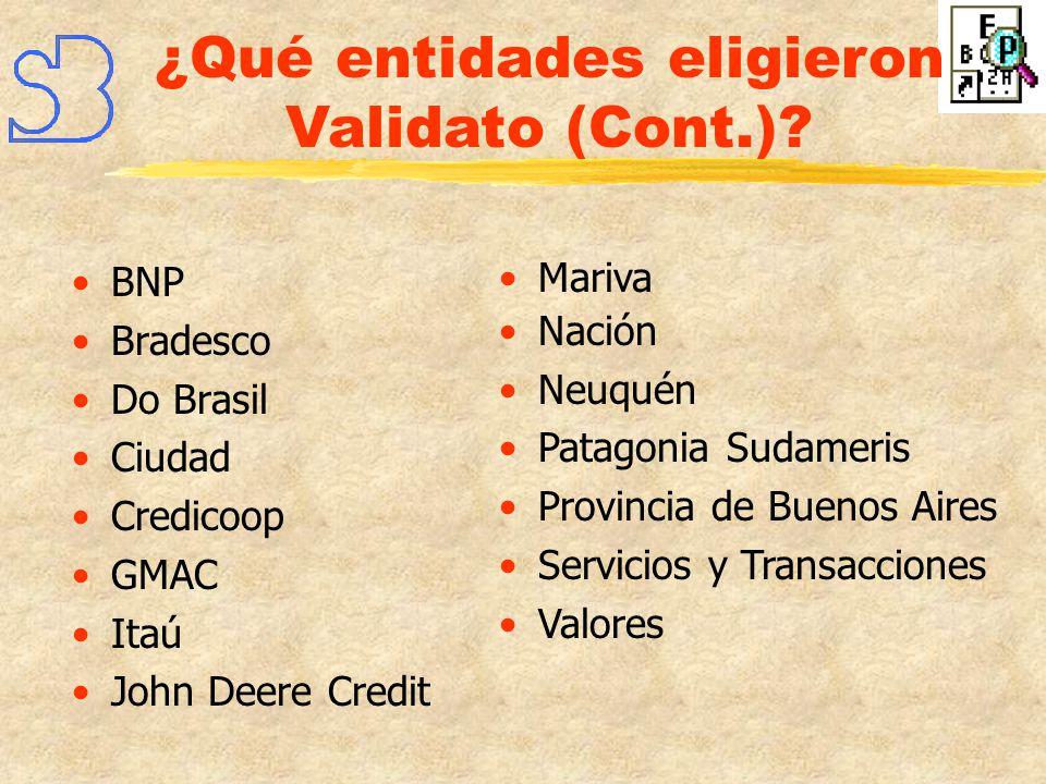 ¿Qué entidades eligieron Validato (Cont.)