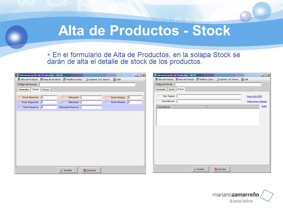 Alta de Productos - Stock